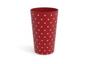 """כוס מודרנית מקושטת 275 מ""""ל 9237 אדום כהה נקודות"""