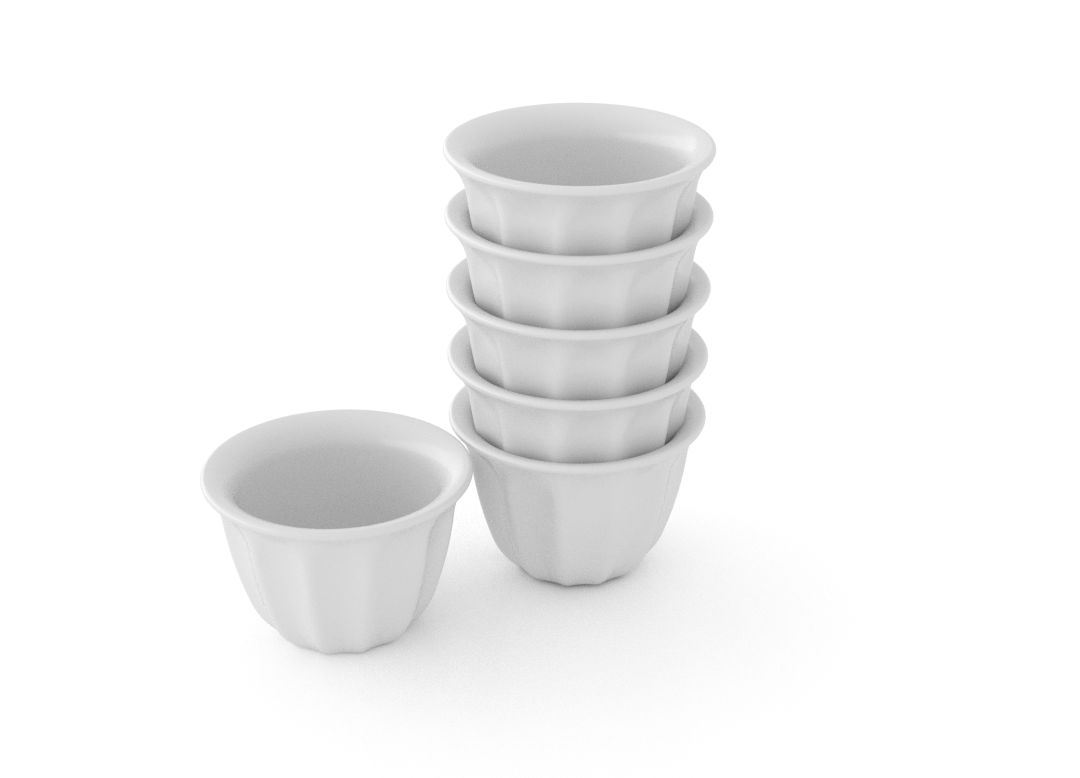 Basic Set of 6 Small Coffee Cups 6x50ml 366111 White