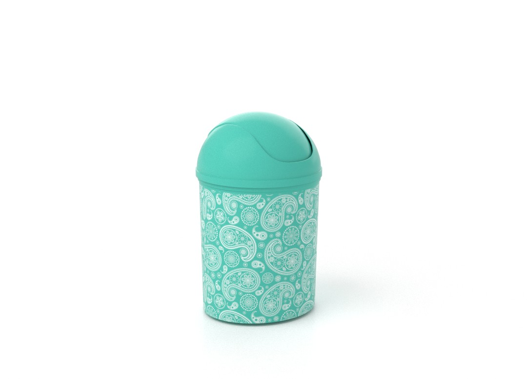 Decorative Dust Bin 6L 7946 Turquoise Paisley