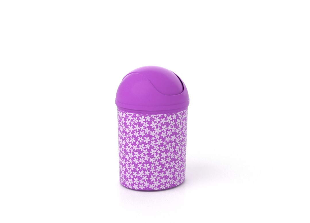Decorative Dust Bin 6L 7956 Purple Flowers