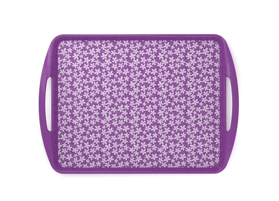 Decorative Fast Food Tray 44x30cm 9435 Purple Flowers