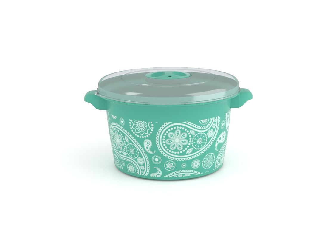 Decorative Microwave Pot 1.5L 1508 Paisley and Steam Release Valve Turquoise