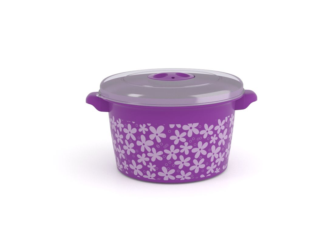 Decorative Microwave Pot 1.5L 1509 Flowers and Steam Release Valve Purple