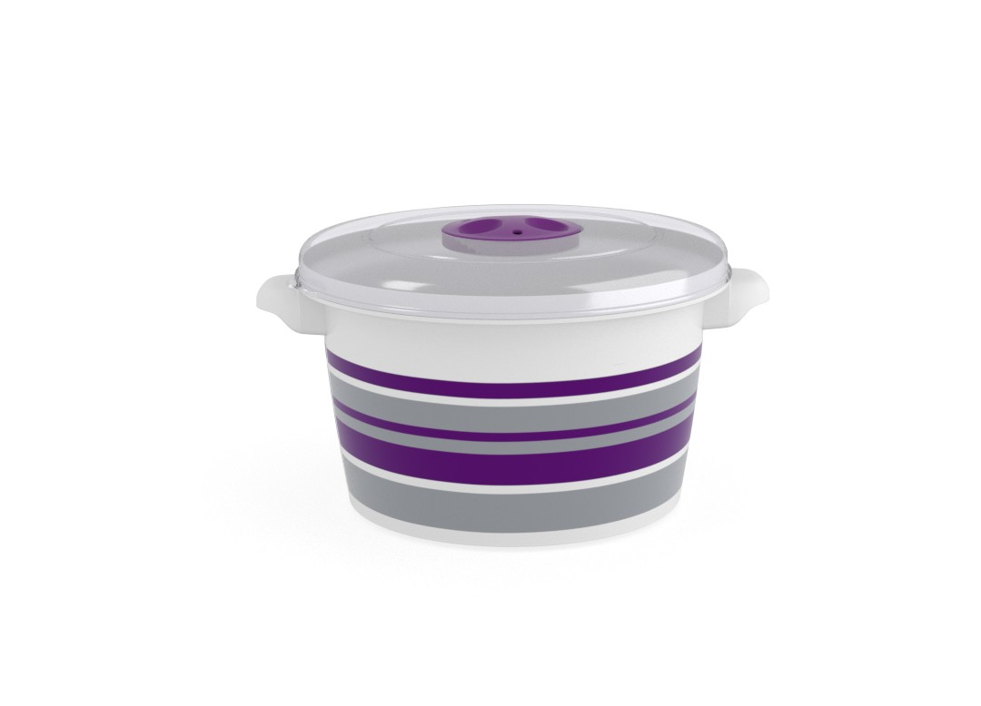 Decorative Microwave Pot 1.5L 1598 Stripes and Steam Release Valve Purple