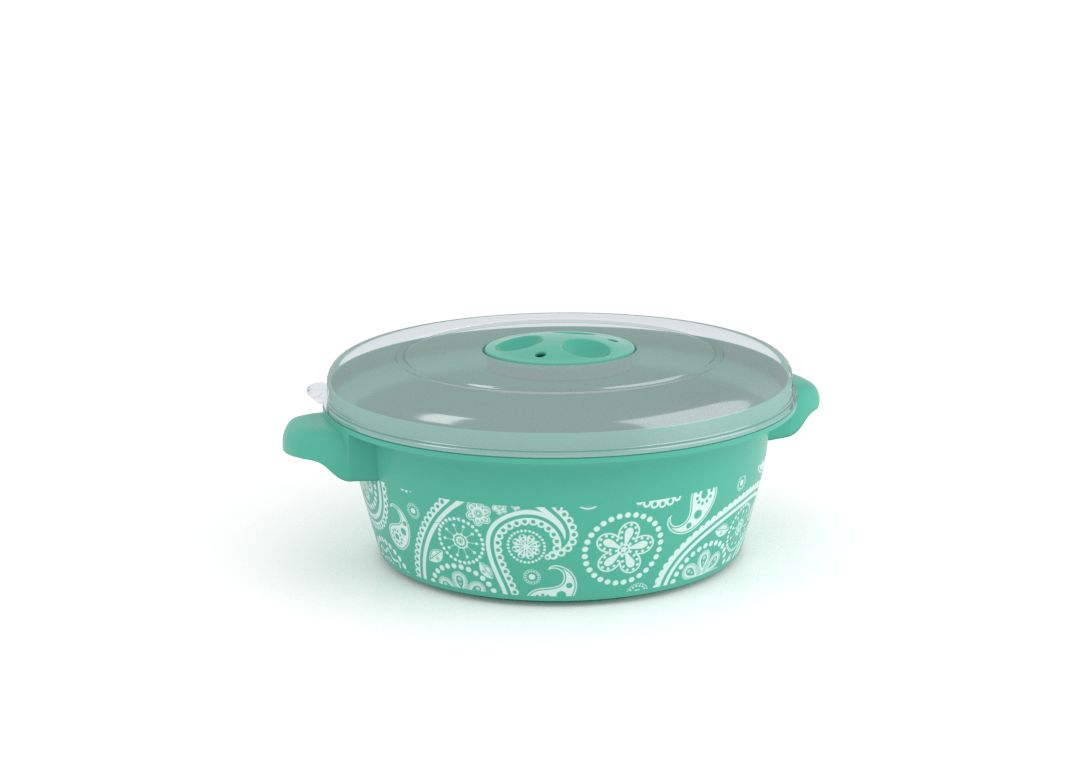 Decorative Microwave Pot 1L 1108 Paisley and Steam Release Valve Turquoise
