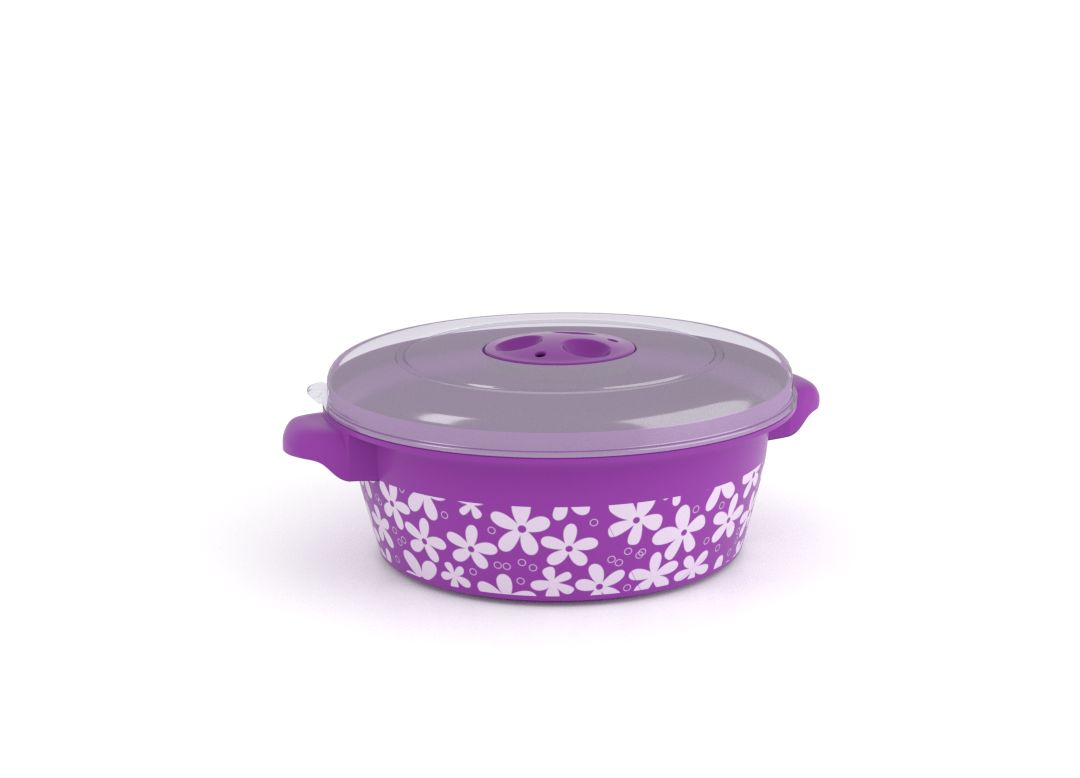 Decorative Microwave Pot 1L 1109 Flowers and Steam Release Valve Purple