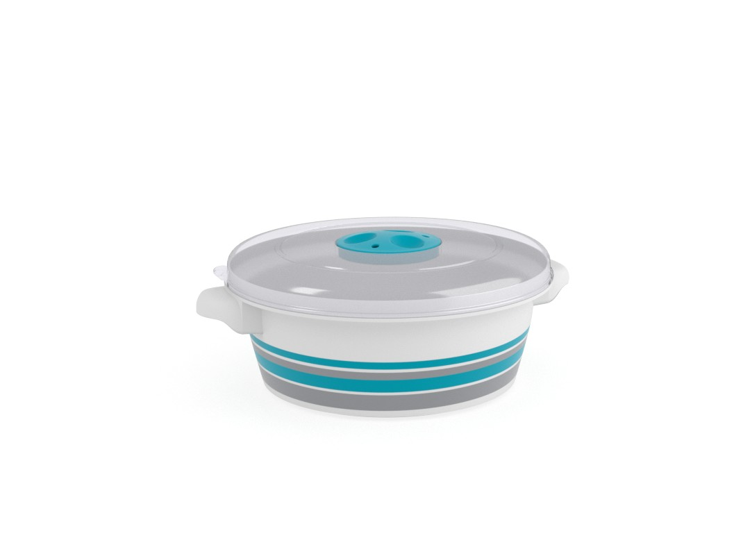 Decorative Microwave Pot 1L 1198 Stripes and Steam Release Valve Turquoise