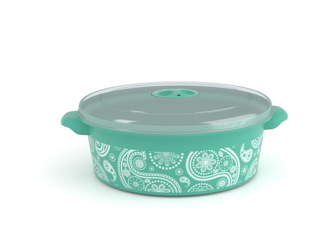 Decorative Microwave Pot 2L 1208 Paisley and Steam Release Valve Turquoise