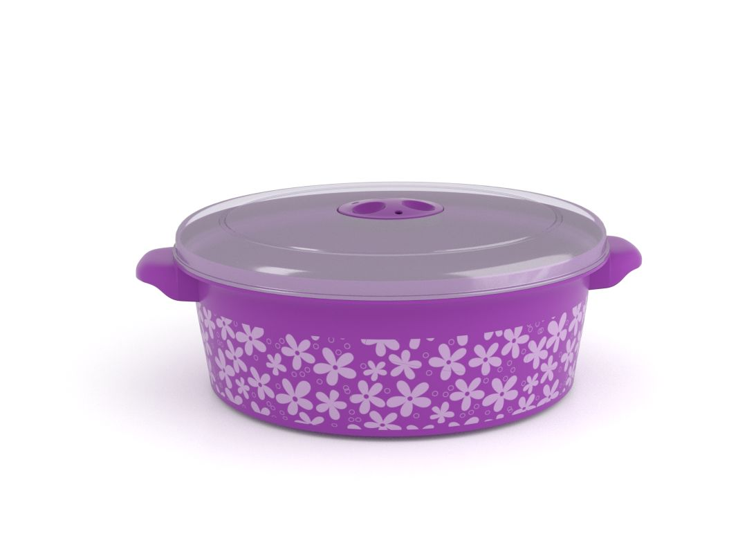 Decorative Microwave Pot 2L 1209 Flowers and Steam Release Valve Purple