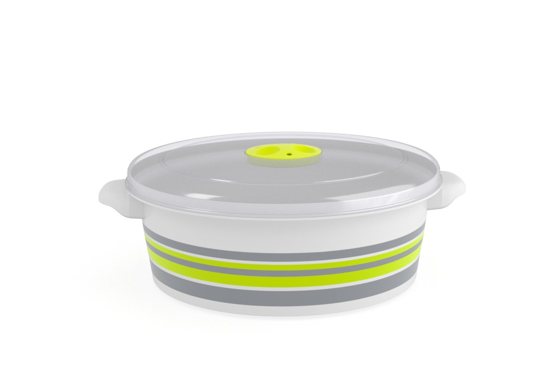 Decorative Microwave Pot 2L 1298 Stripes and Steam Release Valve Lime