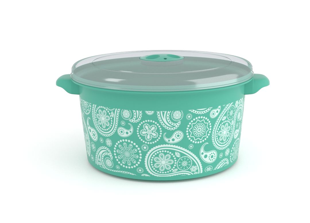 Decorative Microwave Pot 3L 1308 Paisley and Steam Release Valve Turquoise