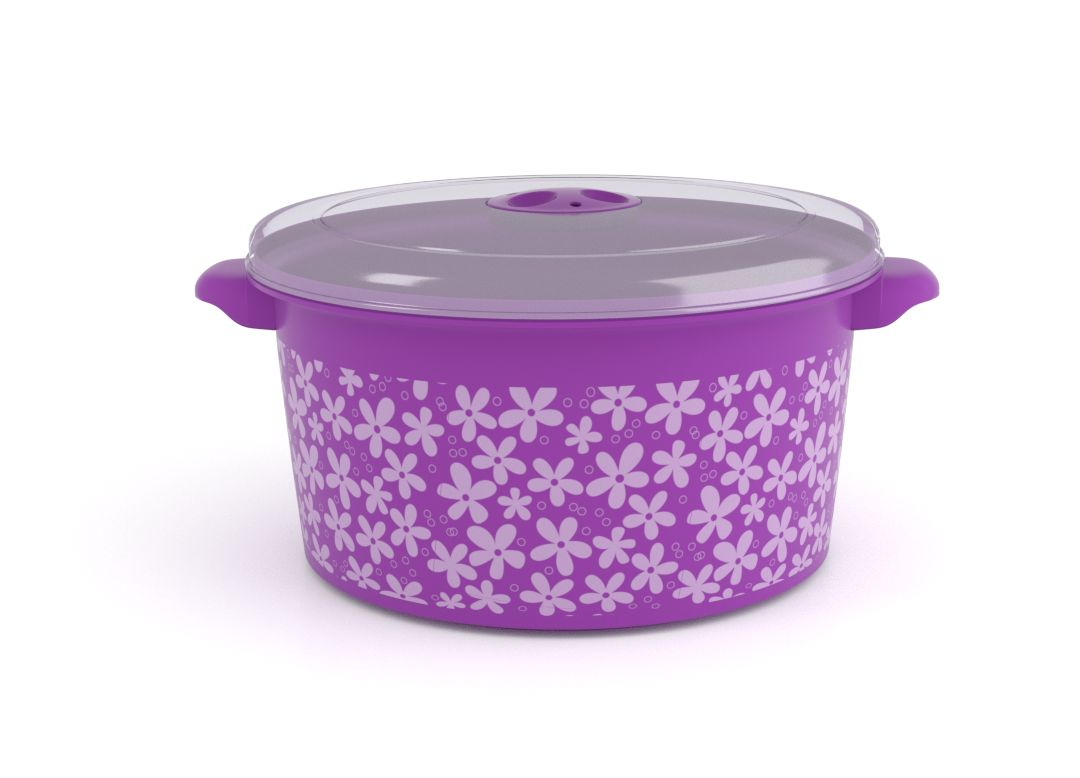 Decorative Microwave Pot 3L 1309 Flowers and Steam Release Valve Purple