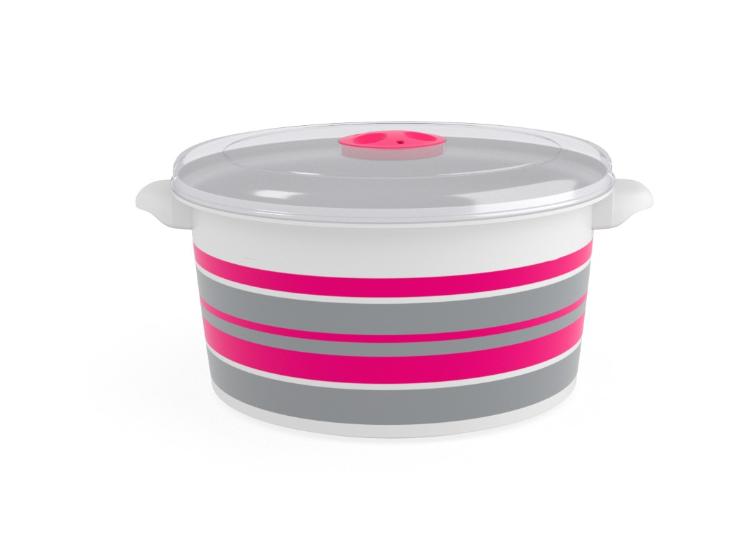 Decorative Microwave Pot 3L 1398 Stripes and Steam Release Valve Fuchsia
