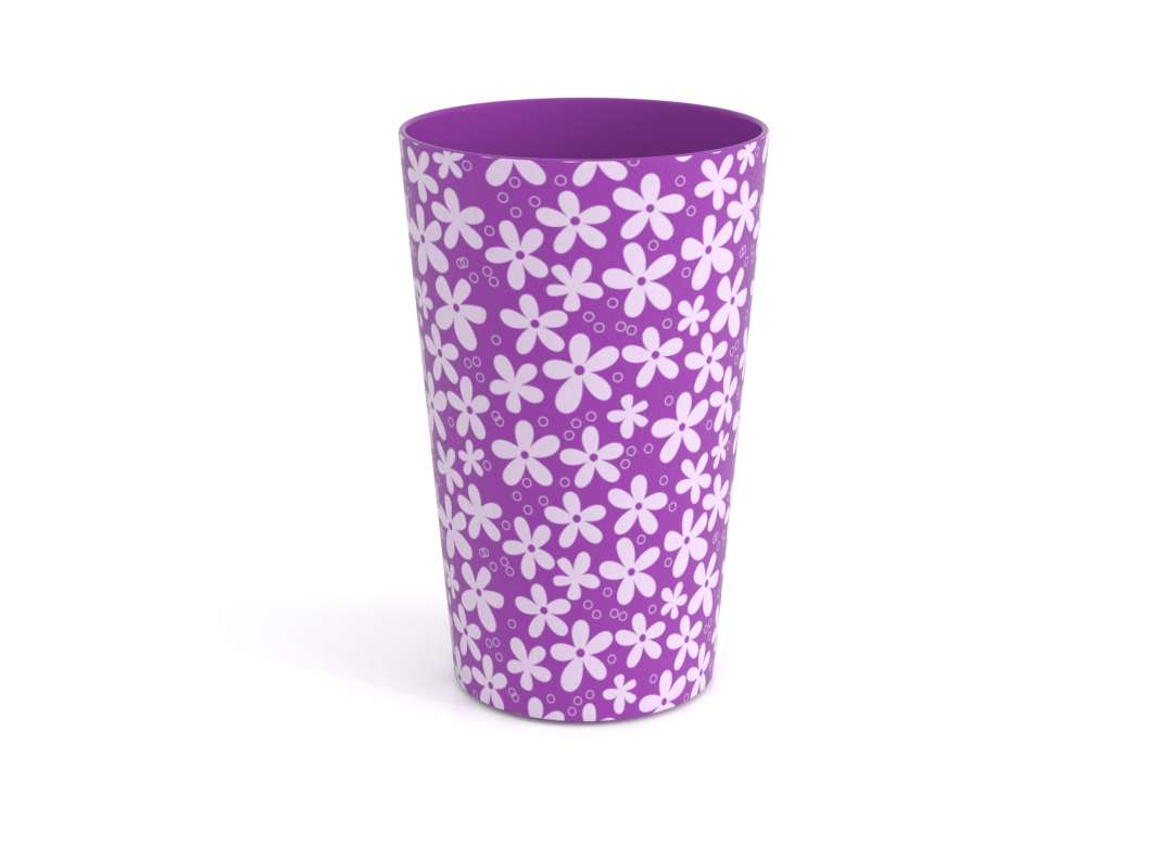 Decorative Modern Cup 275ml 9235 Purple Flowers