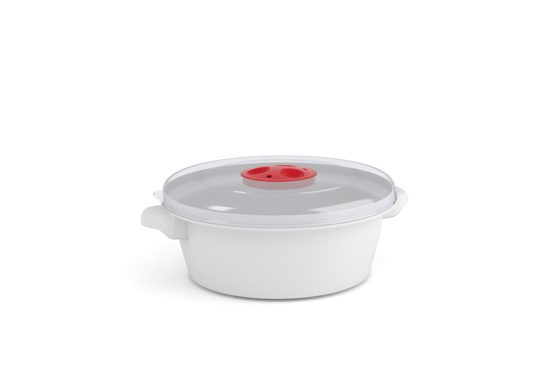 Microwave Pot 1L 3100 with Steam Release Valve White