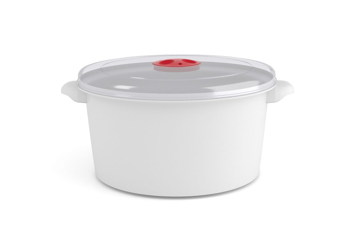 Microwave Pot 3L 3300 with Steam Release Valve White
