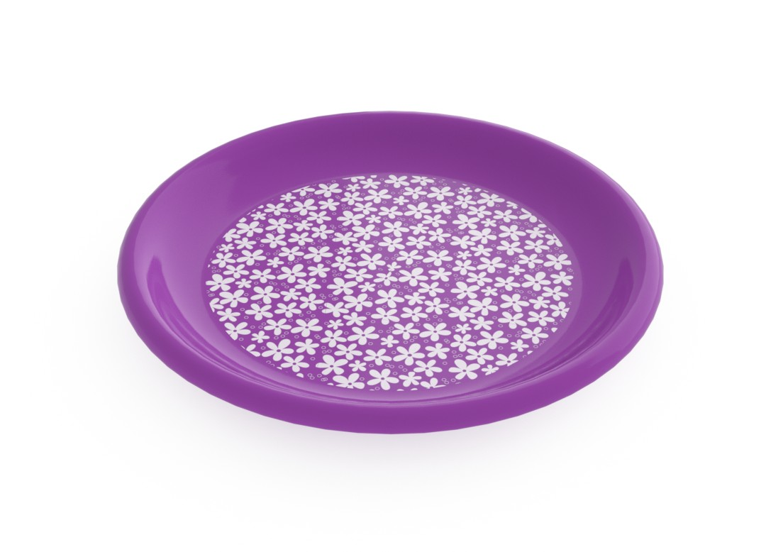 Adi Decorative Flat Plate 23cm 6935 Purple Flowers