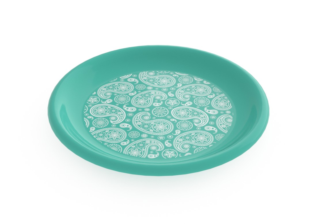 Adi Decorative Flat Plate 23cm 6934 Turquoise Paisely