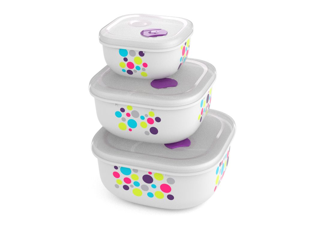 Decorated Set of 3 Tama Lock Square Containers (500ml, 1.3L, 2.4L) 9338 Dots with Steam Release Valve White