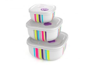 Decorated Set of 3 Tama Lock Square Containers (500ml, 1.3L, 2.4L) 9339 Stripes with Steam Release Valve White