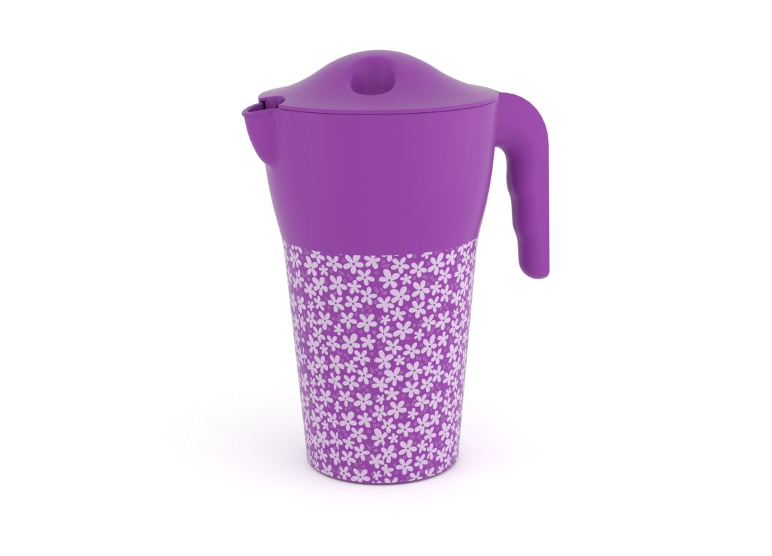 Decorative Designed Pitcher 2L 9485 with Lid Purple Flowers