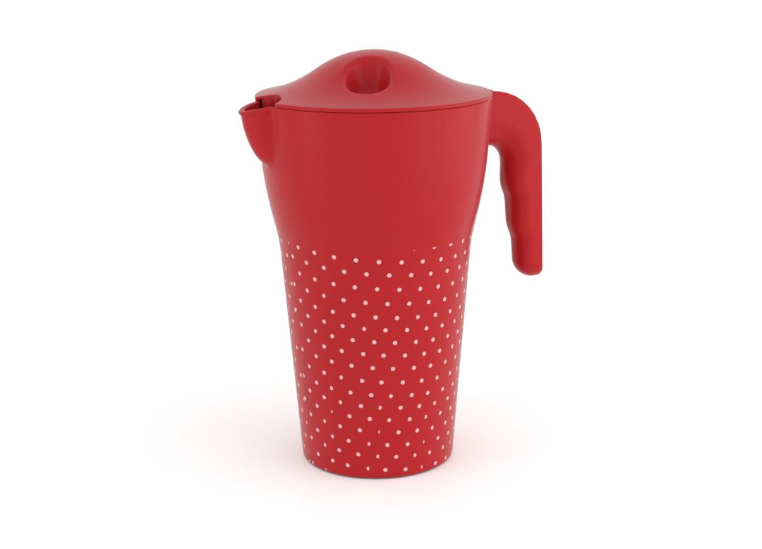 Decorative Designed Pitcher 2L 9487 with Lid Red Dots