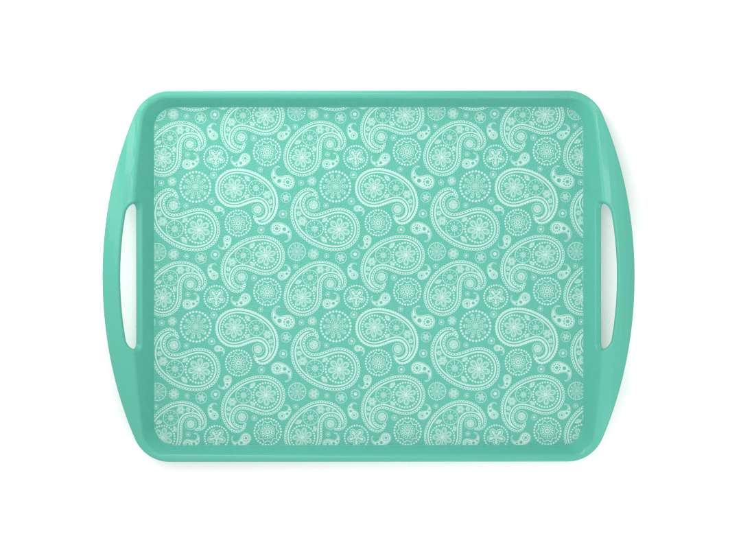 Decorative Fast Food Tray 44x30cm 9434 Turquoise Paisley