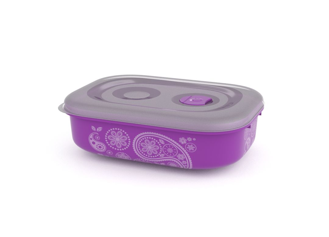 Decorative Tama Lock Rectangular Container 1.8L 9184 with Steam Release Valve Purple Paisley