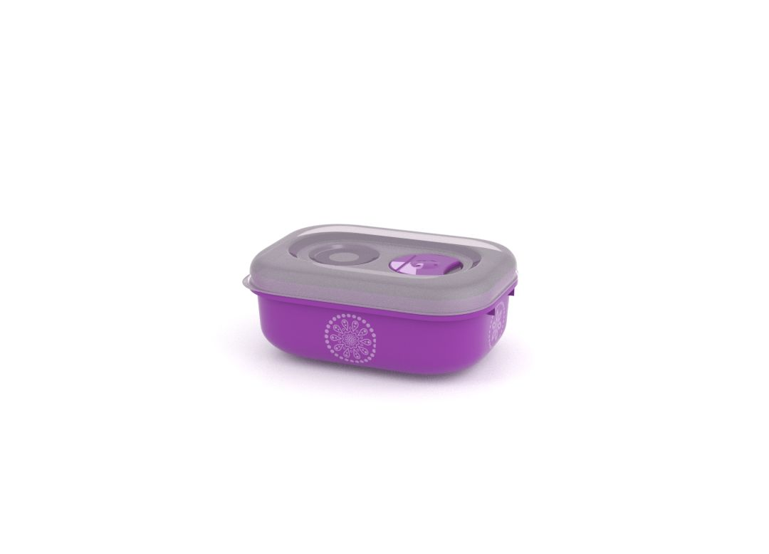 Decorative Tama Lock Rectangular Container 330ml 9334 with Steam Release Valve Purple Paisley