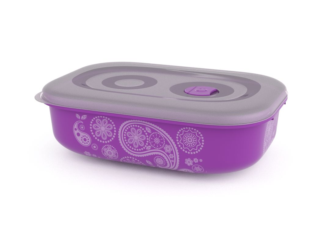 Decorative Tama Lock Rectangular Container 3L 9304 with Steam Release Valve Purple Paisley