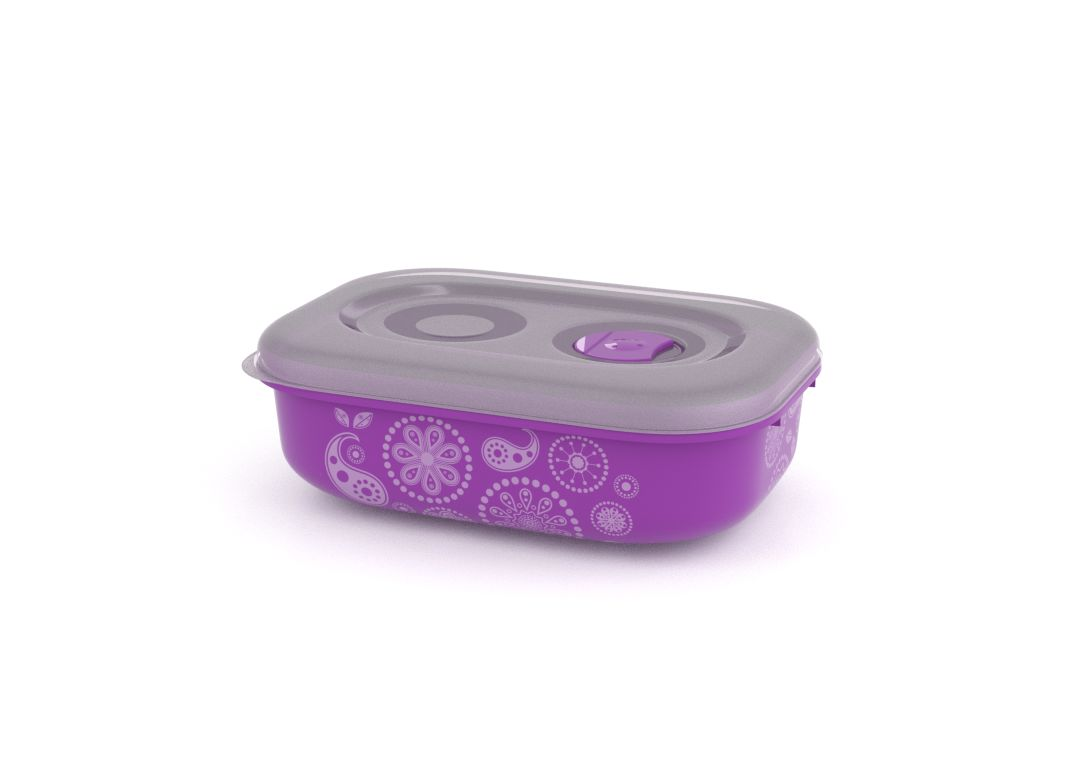 Decorative Tama Lock Rectangular Container 900ml 9904 with Steam Release Valve Purple Paisley