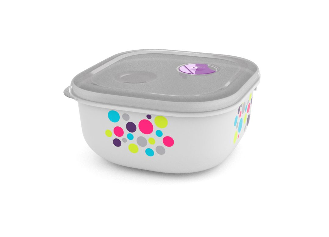Decorative Tama Lock Square Container 1.3L 9138 Dots with Steam Release Valve White