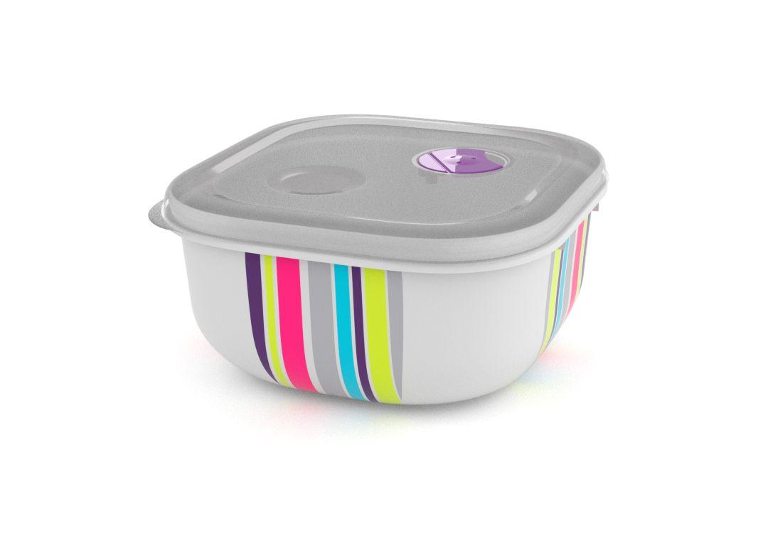 Decorative Tama Lock Square Container 1.3L 9139 Stripes with Steam Release Valve White