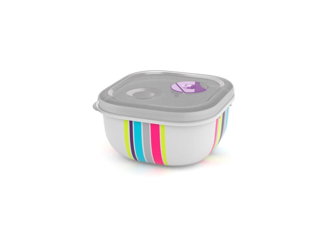 Decorative Tama Lock Square Container 500ml 9509 Stripes with Steam Release Valve White