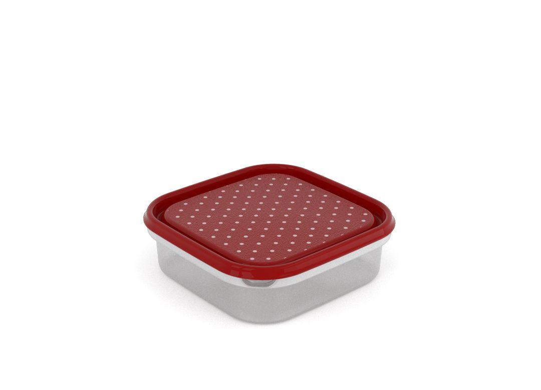 Inbar Decorative Container 1.3L 7137 Dark Red Dots