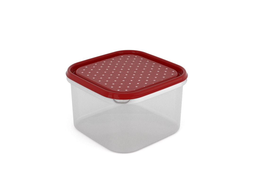 Inbar Decorative Container 2.8L 7287 Dark Red Dots