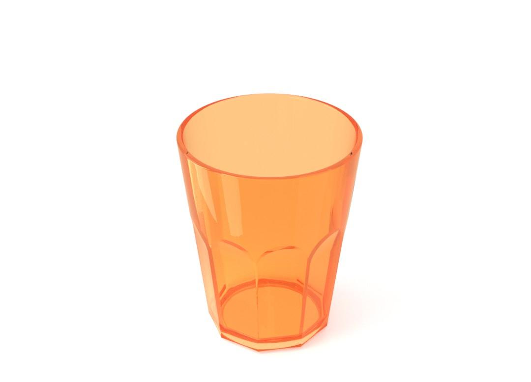 Acrylic Soft Drink Cup 400ml 227 Transparent Orange