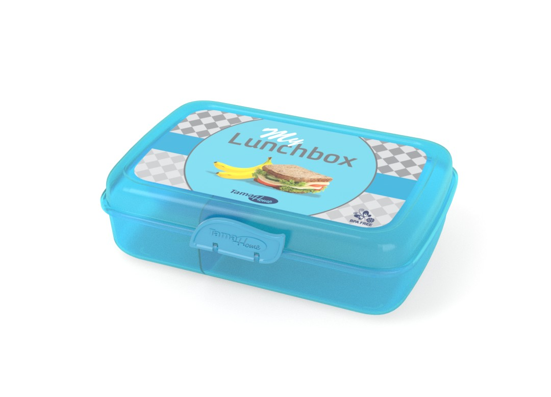 Decorative Lunchbox 22x15x7cm 1002 Transparent Blue