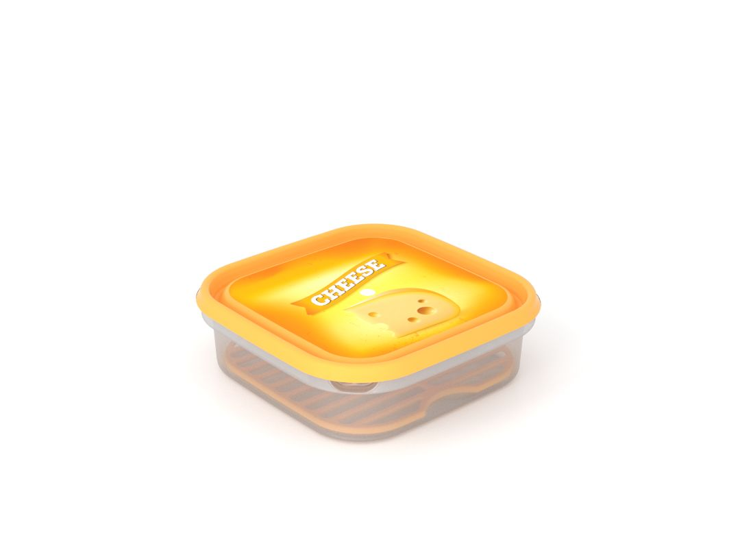 Inbar Food Container 1.3L 7133 Cheese IML Lid With Fresh Net Yellow