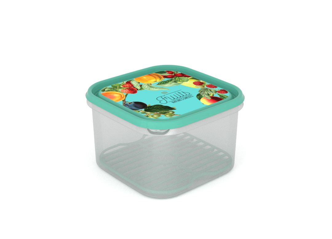 Inbar Food Container 2.8L 7282 Fruits on a branch IML Lid With Fresh Net Turquoise