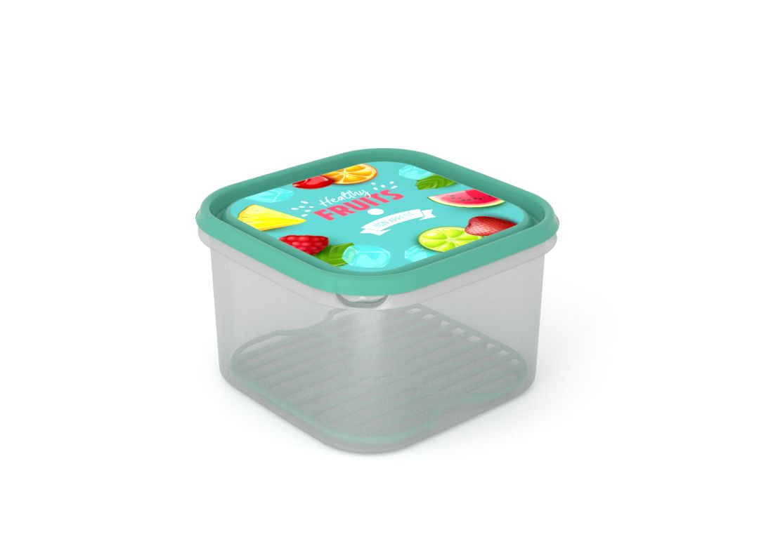 Inbar Food Container 2.8L 7283 Fruits on a branch IML Lid With Fresh Net Turquoise