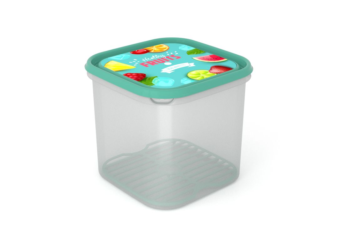 Inbar Food Container 4.2L 7423 Fruits on a branch IML Lid With Fresh Net Turquoise