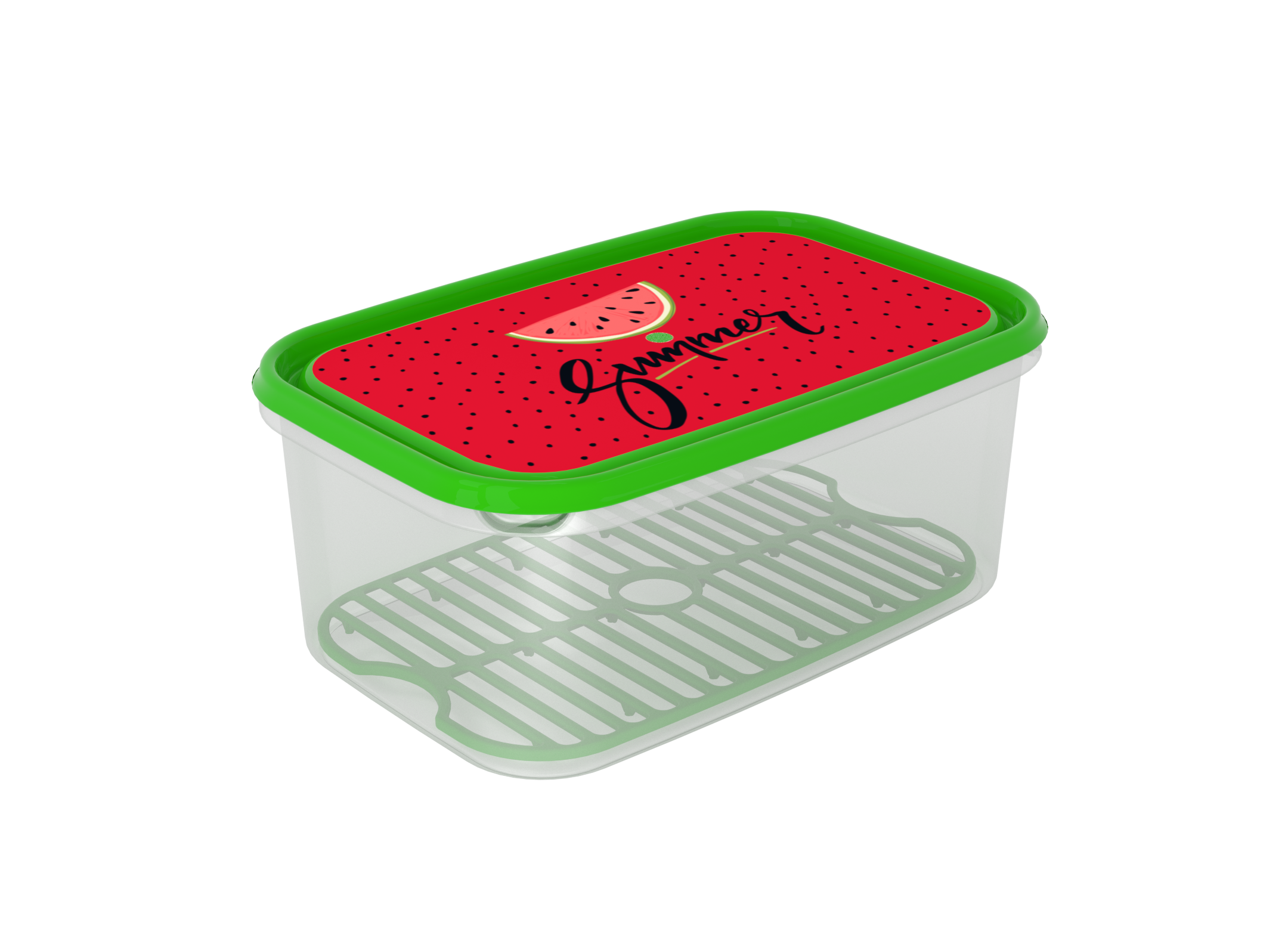 Inbar Food Container 4.4L 7441 Watermelon green IML Lid With Fresh Net Green