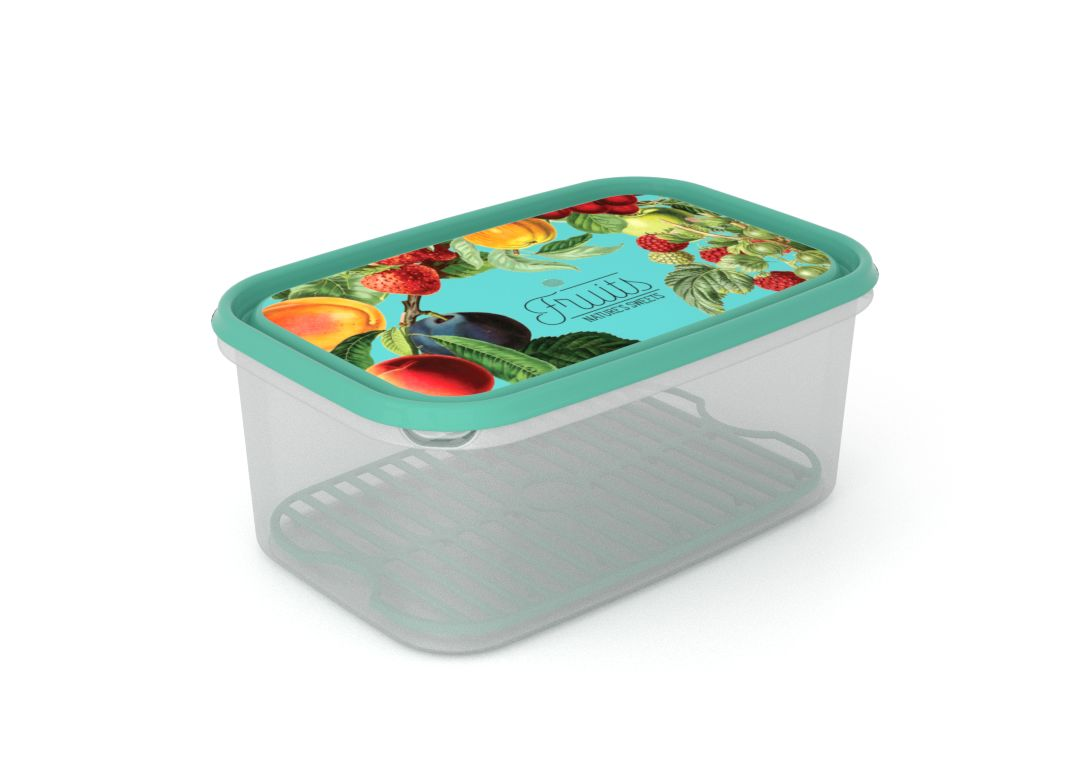 Inbar Food Container 4.4L 7442 Fruits on a branch IML Lid With Fresh Net Turquoise