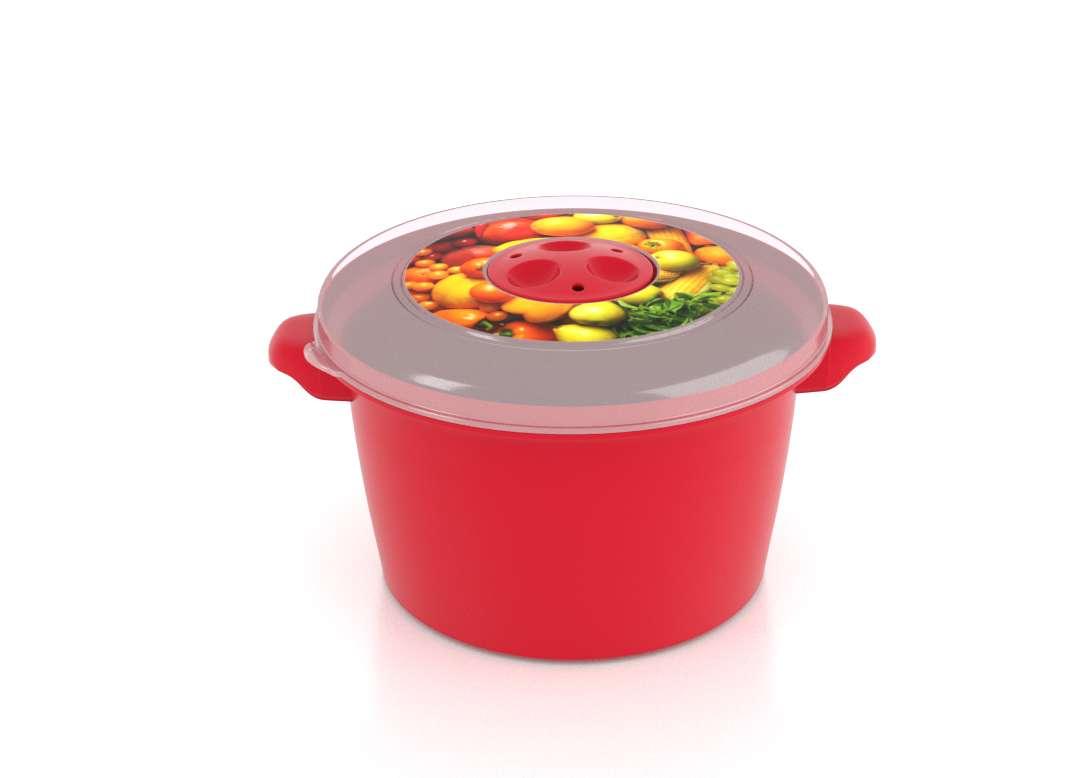 Micro Pot with Decorative Lid 1-5L 3152 Fruits with Steam Release Valve Bright Red