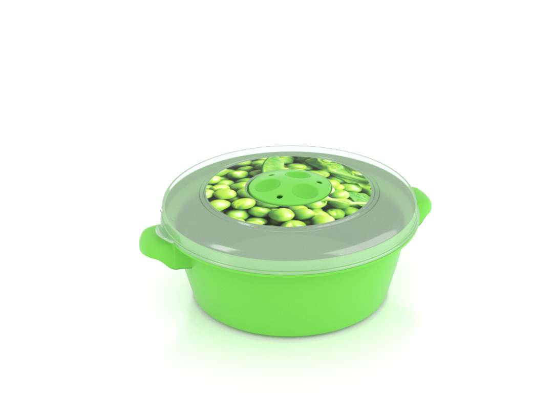 Micro Pot with Decorative Lid 1L 3101 Peas with Steam Release Valve Dark Green