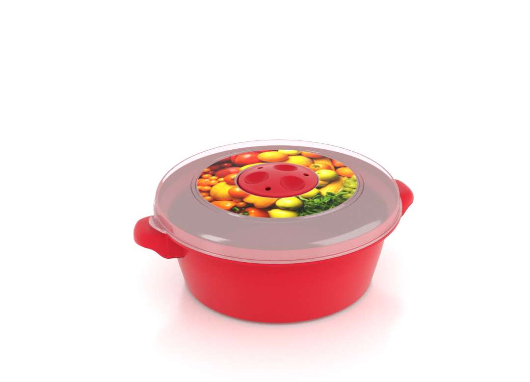 Micro Pot with Decorative Lid 1L 3102 Fruits with Steam Release Valve Bright Red
