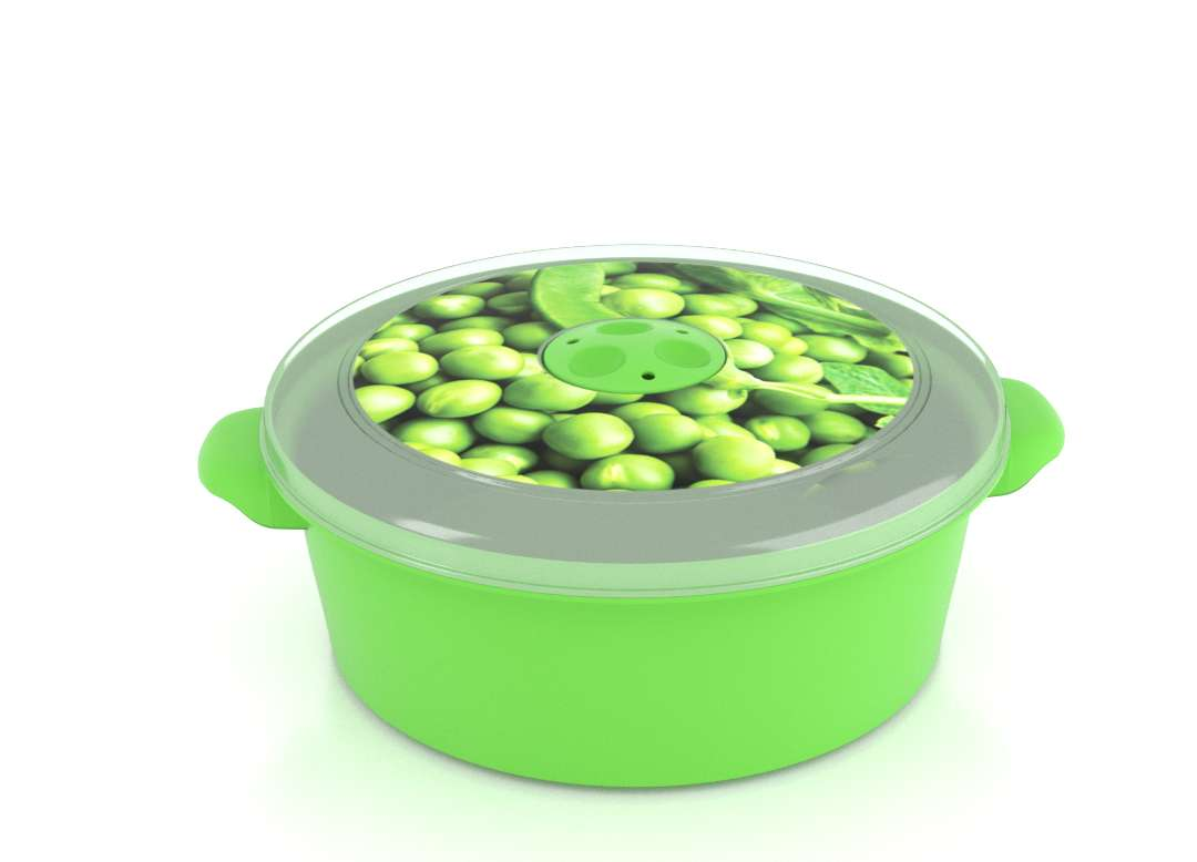 Micro Pot with Decorative Lid 2L 3201 Peas with Steam Release Valve Dark Green