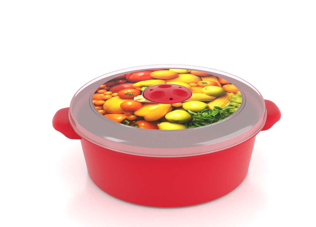Micro Pot with Decorative Lid 2L 3202 Fruits with Steam Release Valve Bright Red