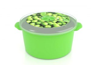 Micro Pot with Decorative Lid 3L 3301Peas with Steam Release Valve Dark Green